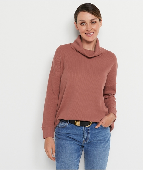 WAFFLE ROLL  NECK TOP