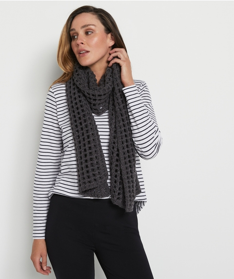 Charcoal Lattice Knit Scarf