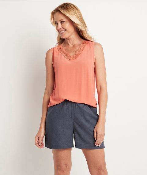 WOVEN FRONT LACE TOP