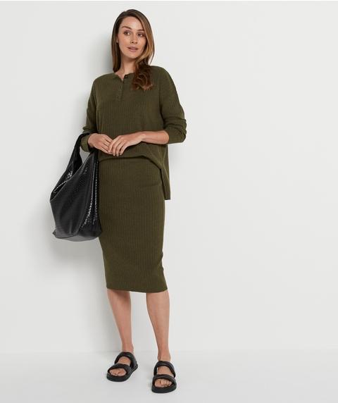 Rib Midi Skirt