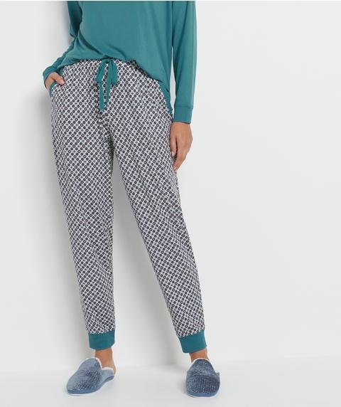 Tile Print Long John Pyjama Pant