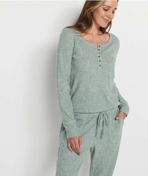 Relaxed Waffle Henley Top