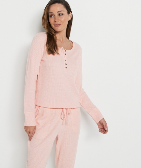 WAFFLE K RELAXED HENLEY TOP