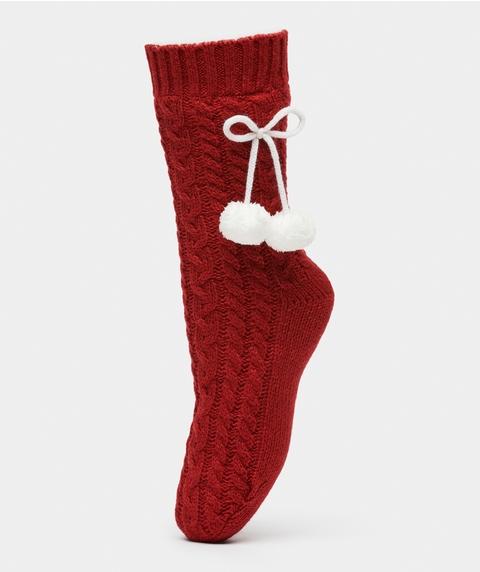 Pom Pom Cable Knit Sock