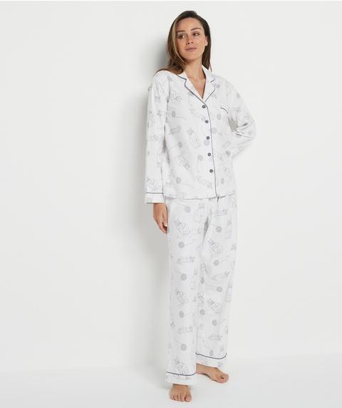 Cat Print Flannelette Pyjama Set
