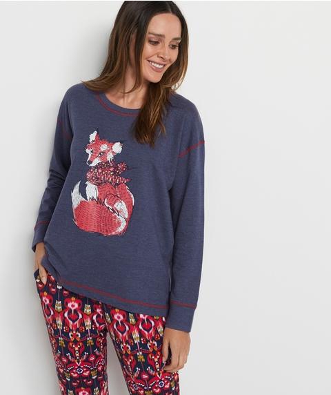 Fox Print Pyjama Top