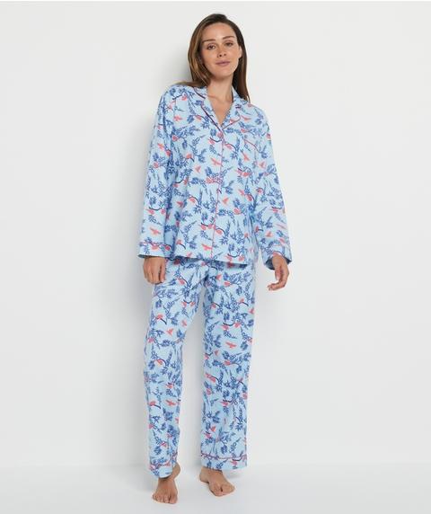 Bird Print Flannelette Pyjama Set