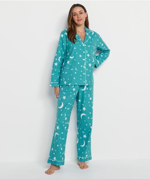 Moon And Star Print Flannelette Pyjama Set