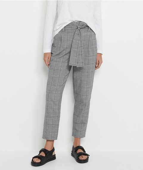 CHECK BELTED PANT