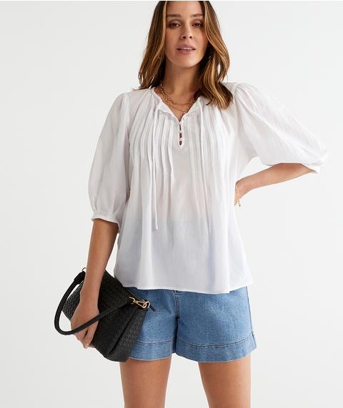 Cotton Pintuck Top