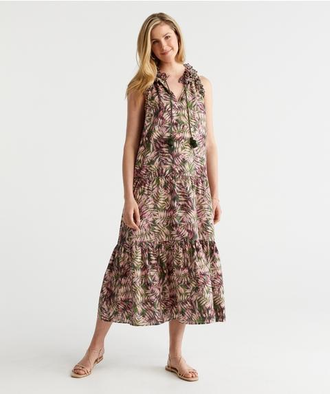 Print Ruffle Neck Dress
