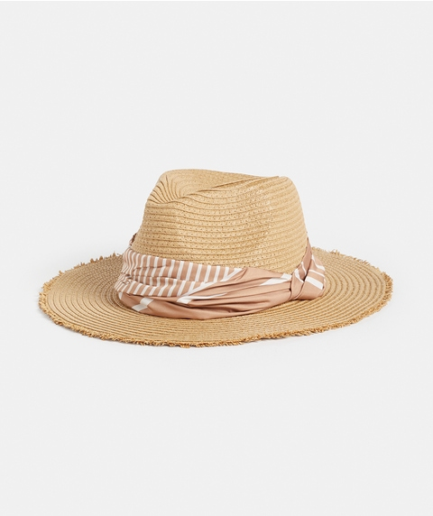 TONAL STRIPE PANAMA HAT