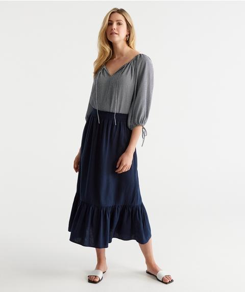 Soft Hem Linen Skirt