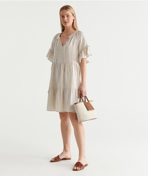 Linen Flutter Slv Dress