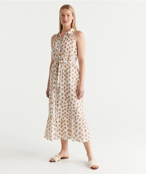 Spot Collar Midi Dress